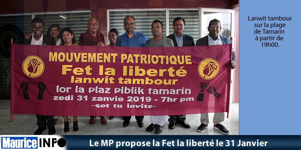Le MP propose la Fet la liberté le 31 Janvier