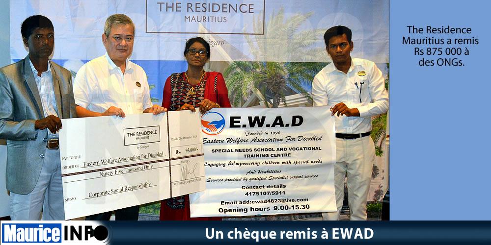 Un chèque remis à EWAD
