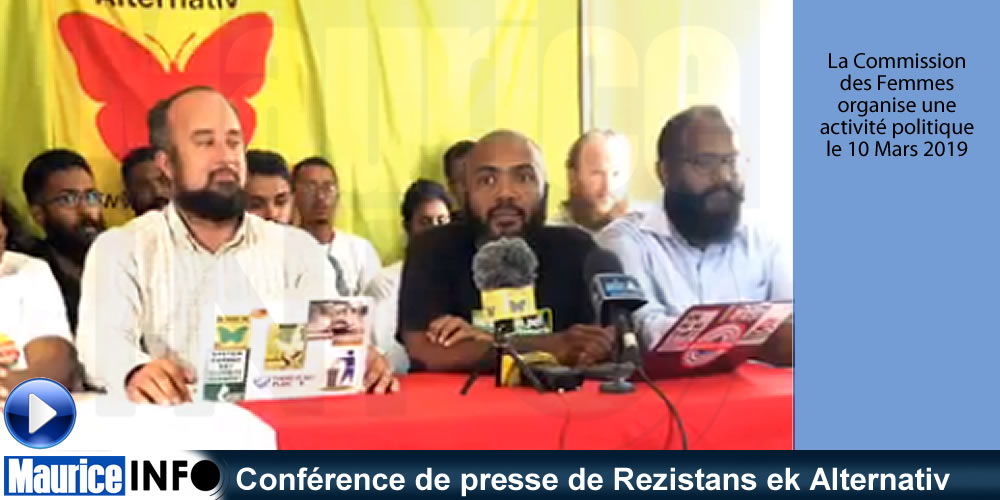 Conférence de presse de Rezistans ek Alternativ du 20 Février 2019.