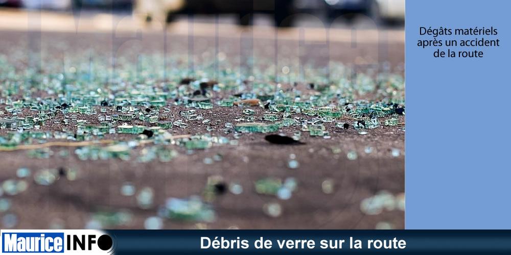 Débris de verre sur la route