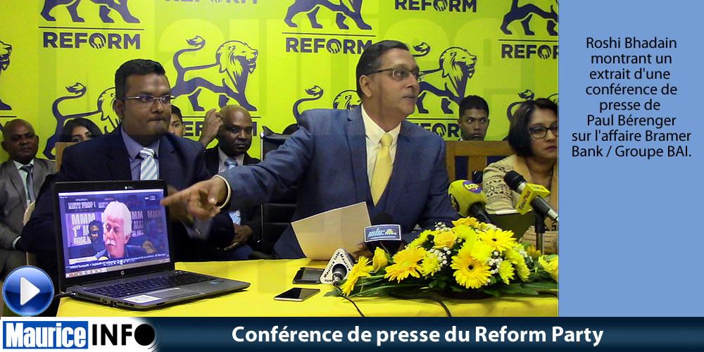 Conférence de presse du Reform Party 6 Mai 2019