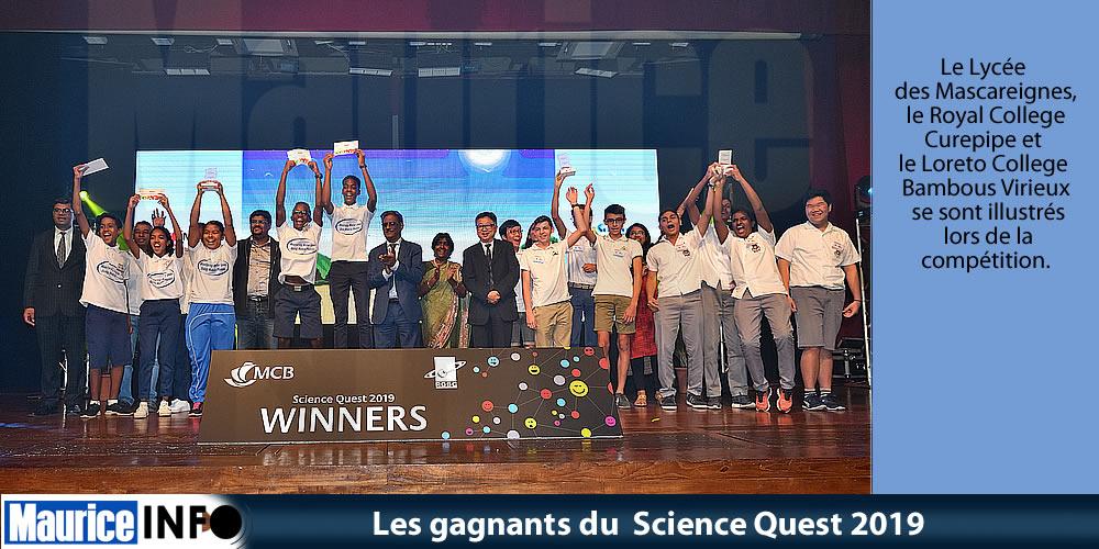 Les gagnants du Science Quest 2019