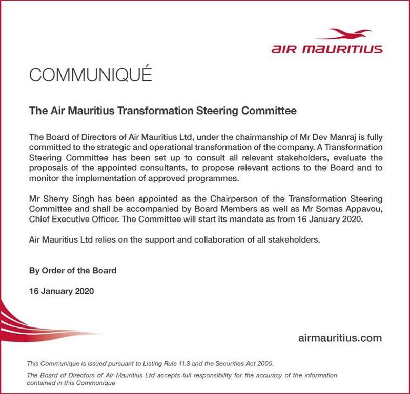 Communique de presse de Air mauritius du 16 janvier 2020