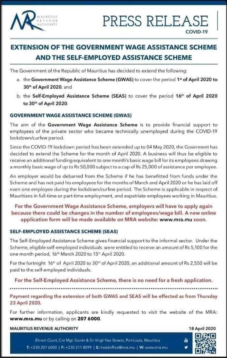 Extension du Wage Assitance Schem et Self Employed Assistance Scheme