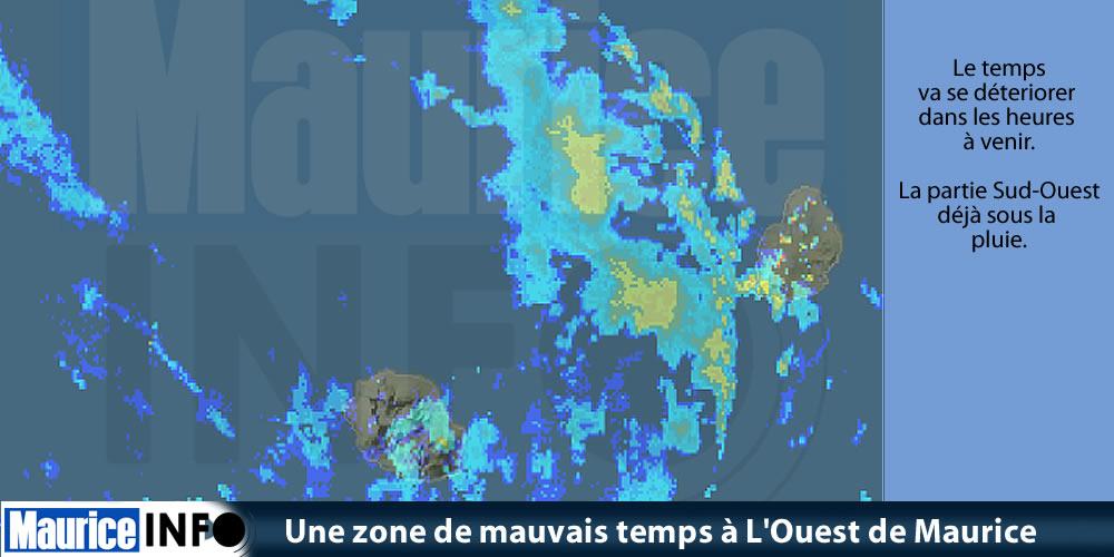 Une zone de mauvais temps à Ouest de Maurice